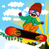 Active Snowboarder Kid