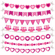 Bunting and garland pink set