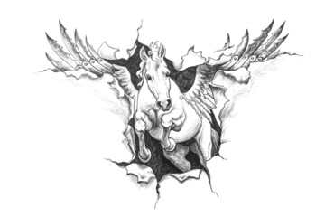 Pencil drawing of Pegasus