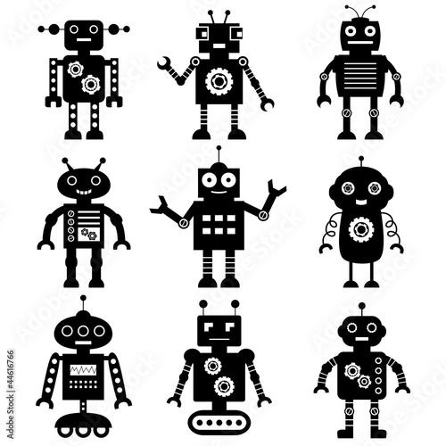 Tuinposter Robots Robot silhouettes set