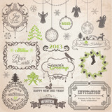 Fototapety Vector Set: Christmas Calligraphic Design Elements and Page Deco