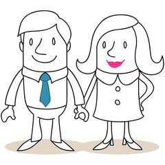 Figur, Mann, Frau, Paar, Händchen haltend