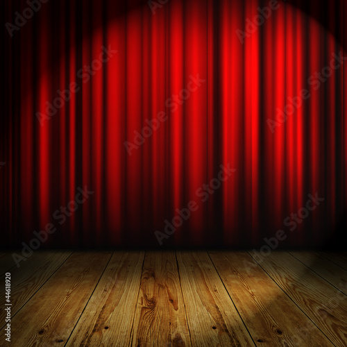 red curtain with place for text