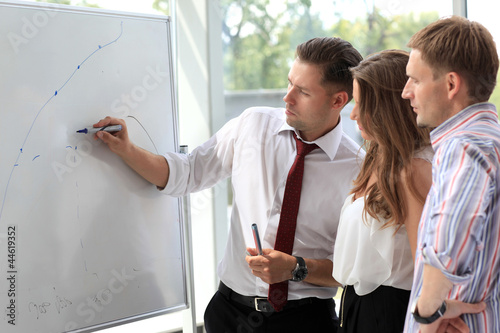 Business people looking at their leader while he explaining