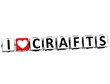 3D I Love Crafts Button Click Here Block Text