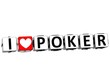 3D I Love Poker Button Click Here Block Text
