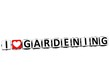 3D I Love Gardening Button Click Here Block Text