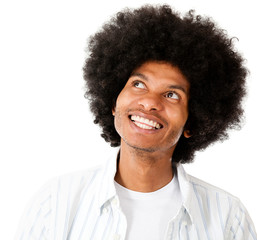 Afro man daydreaming