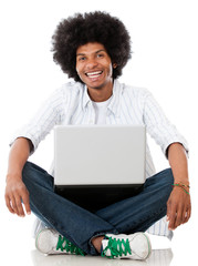 Black man with a laptop