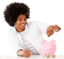 Black man saving money