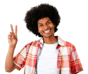 Black man making a peace sign