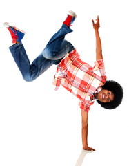 Black man breakdancing