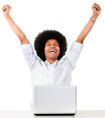 Successful man on a laptop