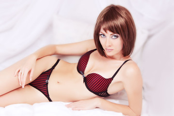 Woman in black and red lingerie
