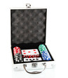 Poker set in metallic case isolated on white background
