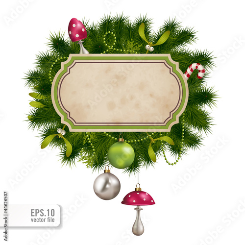 decorated christmas banner with fir-tree and ornaments