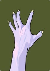 Halloween illustration of a zombie hand