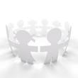 círculo de personas aislado con trazado de recorte
