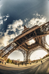 Upward fisheye view of Eiffel Tower in Paris