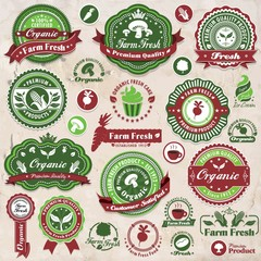 Vintage organic label set template