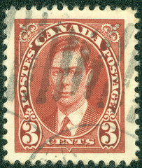 stamp printed by Canada, shows George VI