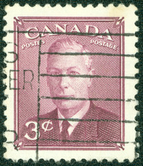 stamp printed in Canada shows King George VI