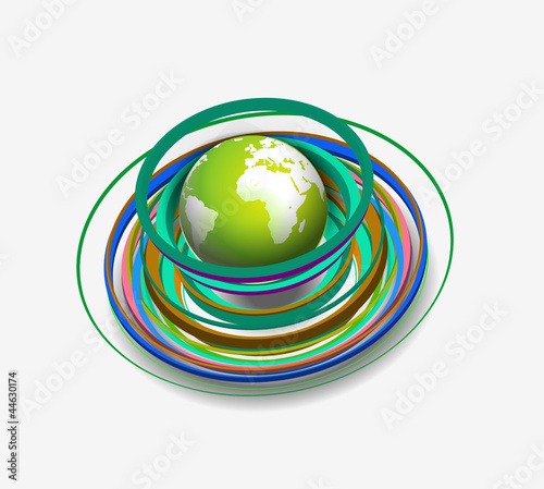 swirl wave globe design element.