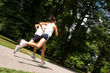 Young couple jogging - motion blurr