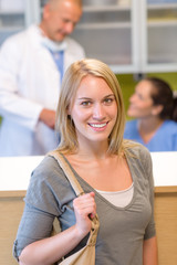 Visit at the dentist beautiful smile woman