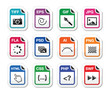 File type black icons as labels - graphics, coding