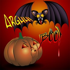 Pumpkin and Bat Cartoon Comics-Pipistrello e Zucca Fumetto