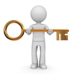 Man with big golden key