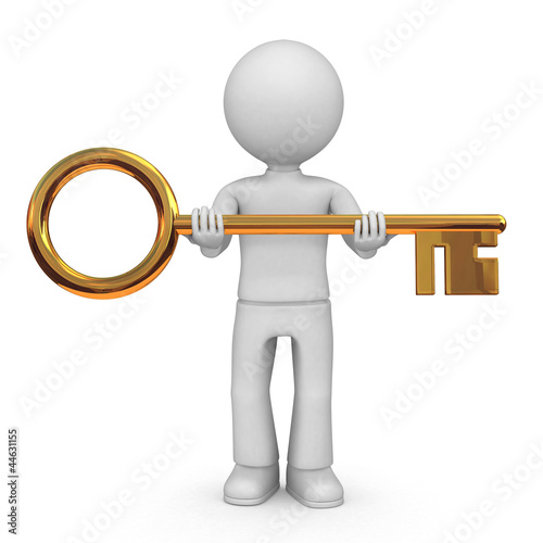 Man with big golden key