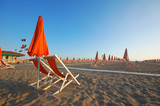 Viareggio beach with umbrellas and chairs