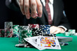 canvas print picture - blackjack in a casino, a man makes a bet, and puts a chip