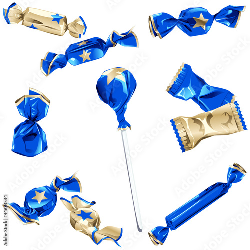 Collection of candy in shiny blue and gold wrappers