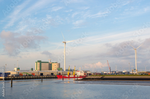 Industrial harbor in landscape