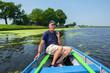 Senior man in boat