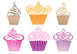set of cupcakes, vector - 44634322
