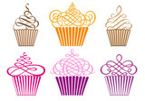 Fototapety set of cupcakes, vector