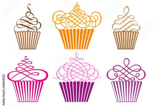Fototapeta set of cupcakes, vector