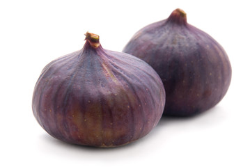Two Figs on White Background