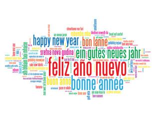 """Nube de Palabras """"FELIZ AÑO NUEVO"""" (happy new year bonne année)"""