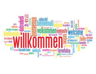 """""""WILLKOMMEN"""" Schlagwortwolke (Kundendienst Service Kontakt)"""