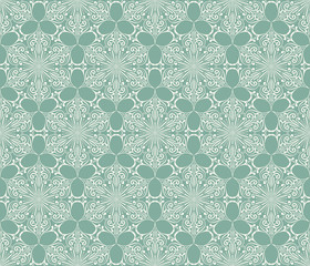 Vector Seamless Lacy Winter Pattern with Snowflakes