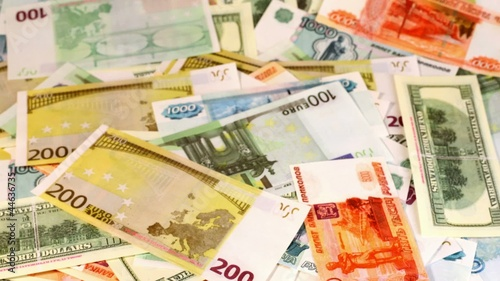 souvenir dollars, euro and russian roubles appear on screen