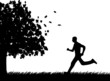 Man running in park in autumn or fall silhouette
