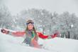 girl play with snow
