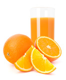 Orange  juice glass  and orange fruit