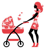 Silhouette of beautiful mother with baby carriage.